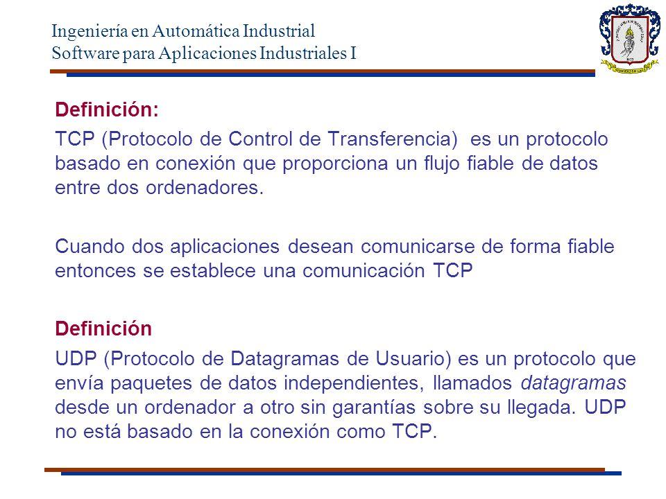 Ingeniería en Automática Industrial Software para Aplicaciones Industriales I Puertos Los protocolos TCP y UDP utilizan puertos para dirigir los datos de entrada a los procesos particulares que se están ejecutando en un ordenador.