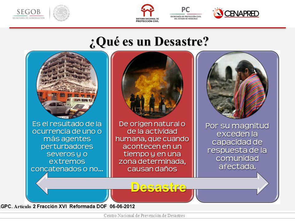 Centro Nacional de Prevención de Desastres LGPC. Artículo 2 Fracción I, XX y XXI DOF 06-06-2012