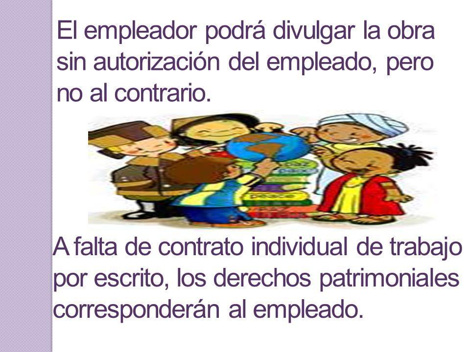 En este sentido, si no existe estipulación expresa y por escrito, los derechos patrimoniales corresponden en partes iguales entre el empleado y el patrón.