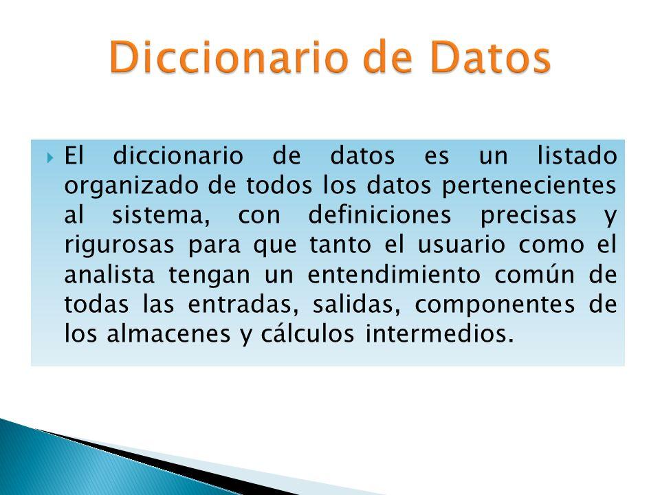 El objetivo de un diccionario de datos es dar precisión sobre los datos que se manejan en un sistema, evitando así malas interpretaciones o ambigüedades.