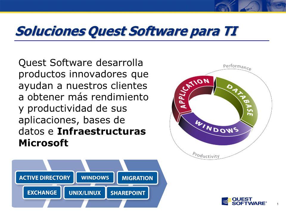 1 Soluciones Quest Software para TI Quest Software desarrolla productos innovadores que ayudan a nuestros clientes a obtener más rendimiento y productividad de sus aplicaciones, bases de datos e Infraestructuras Microsoft