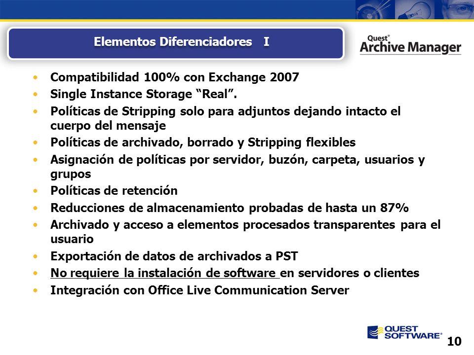 10 Compatibilidad 100% con Exchange 2007 Single Instance Storage Real.