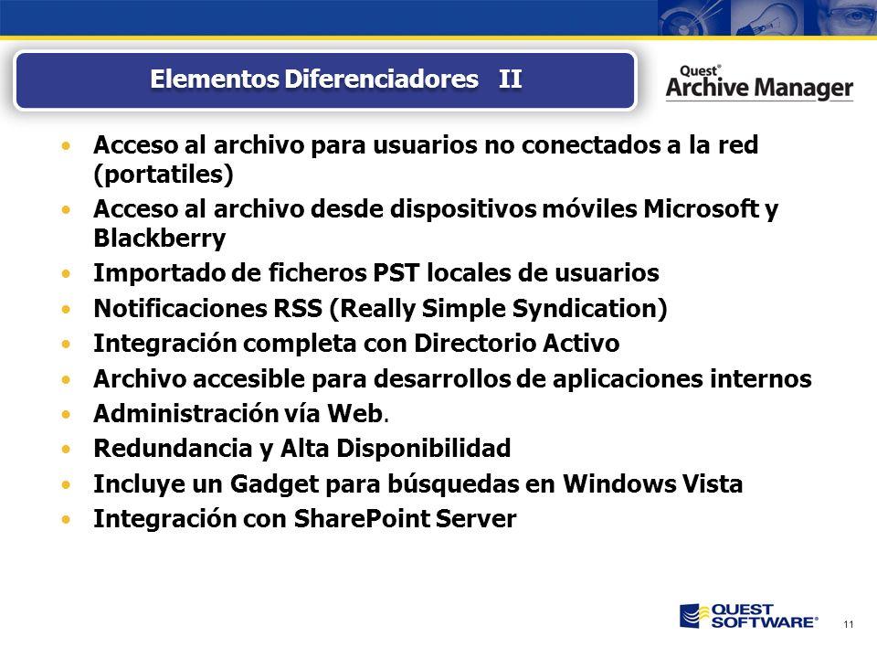 11 Acceso al archivo para usuarios no conectados a la red (portatiles) Acceso al archivo desde dispositivos móviles Microsoft y Blackberry Importado de ficheros PST locales de usuarios Notificaciones RSS (Really Simple Syndication) Integración completa con Directorio Activo Archivo accesible para desarrollos de aplicaciones internos Administración vía Web.