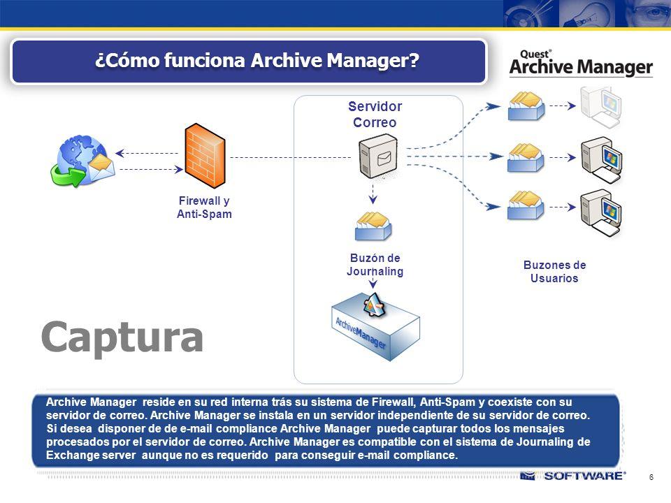 6 Archive Manager reside en su red interna trás su sistema de Firewall, Anti-Spam y coexiste con su servidor de correo.