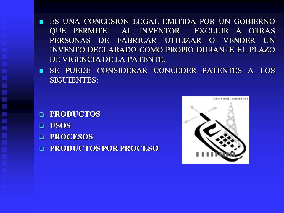 ES UNA CONCESION LEGAL EMITIDA POR UN GOBIERNO QUE PERMITE AL INVENTOR EXCLUIR A OTRAS PERSONAS DE FABRICAR UTILIZAR O VENDER UN INVENTO DECLARADO COMO PROPIO DURANTE EL PLAZO DE VIGENCIA DE LA PATENTE.