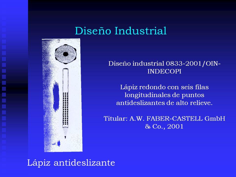 Diseño Industrial Lápiz antideslizante Diseño industrial 0833-2001/OIN- INDECOPI Lápiz redondo con seis filas longitudinales de puntos antideslizantes de alto relieve.
