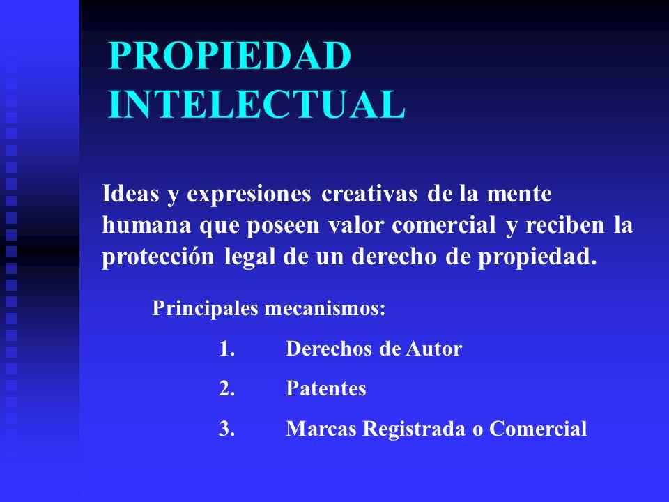 PROPIEDAD INTELECTUAL Ideas y expresiones creativas de la mente humana que poseen valor comercial y reciben la protección legal de un derecho de propiedad.