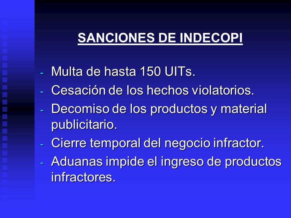 SANCIONES DE INDECOPI - Multa de hasta 150 UITs.- Cesación de los hechos violatorios.