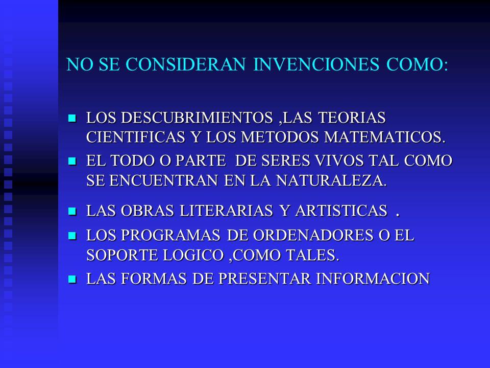 NO SE CONSIDERAN INVENCIONES COMO: LOS DESCUBRIMIENTOS,LAS TEORIAS CIENTIFICAS Y LOS METODOS MATEMATICOS.