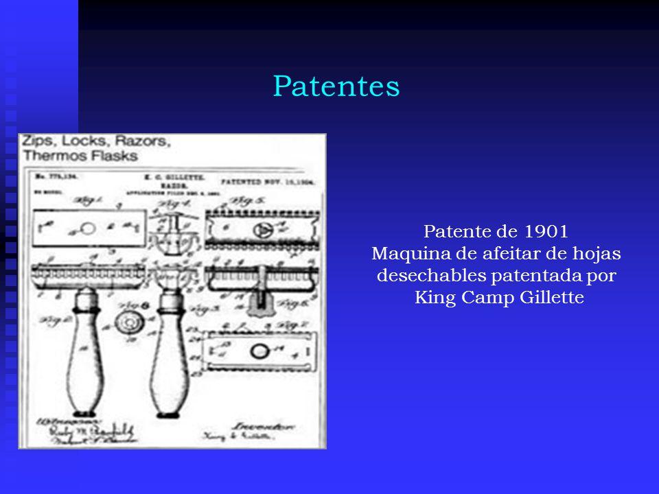 Patentes Patente de 1901 Maquina de afeitar de hojas desechables patentada por King Camp Gillette