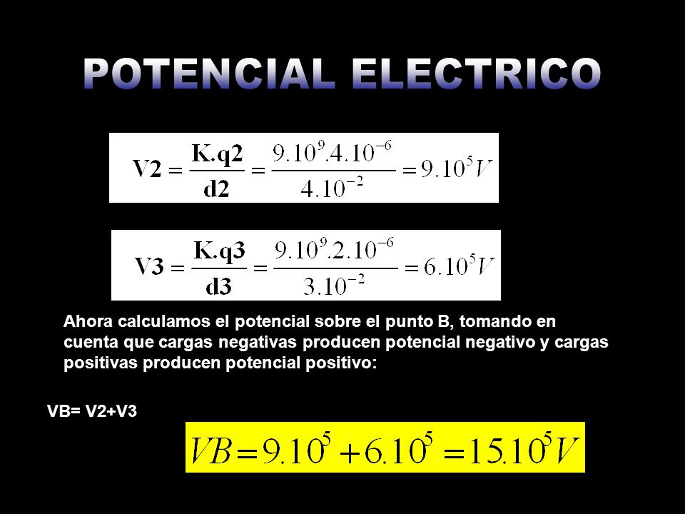 c) El trabajo para mover una carga de 3.10-6 C desde A hasta B Para ello debemos hallar la diferencia de potencial Vab, utilizando los resultados obtenidos previamente Luego usamos: Sustituimos: