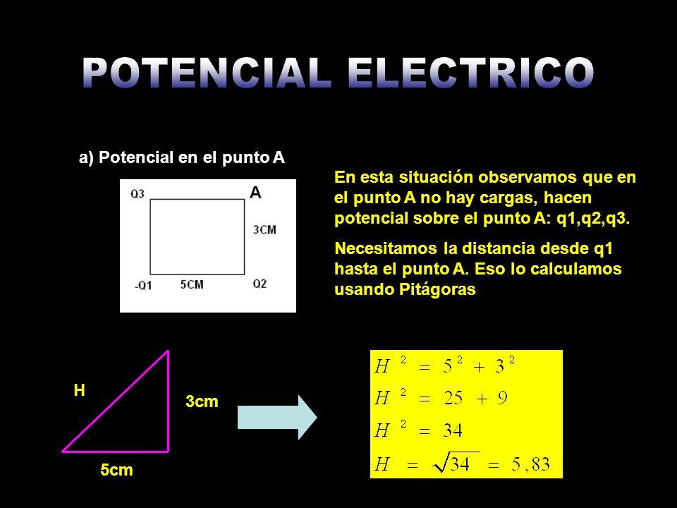 Ahora calculamos los potenciales producidos por cada una de las cargas sobre el punto A: