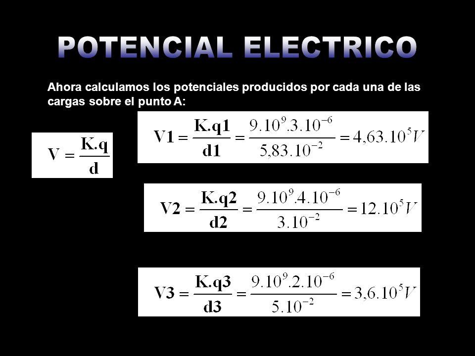 Ahora calculamos el potencial sobre el punto A, tomando en cuenta que cargas negativas producen potencial negativo y cargas positivas producen potencial positivo: VA= - V1+V2+V3