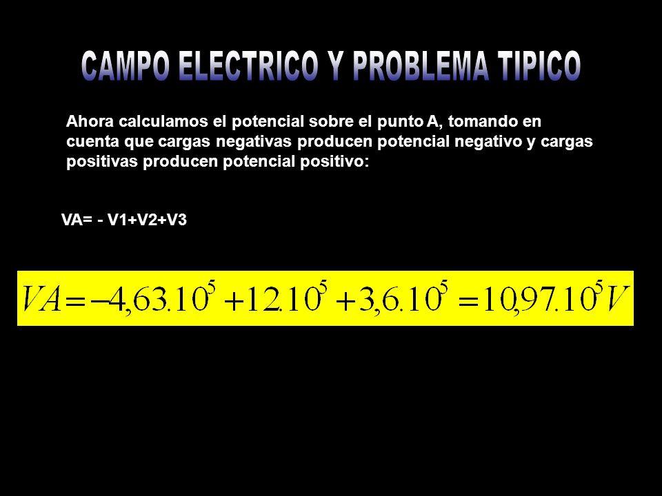 b) Potencial en el punto B B En esta situación observamos que en el punto B hay una carga (q1), esta no se toma en cuenta para el calculo hacen potencial sobre el punto B: q2,q3.