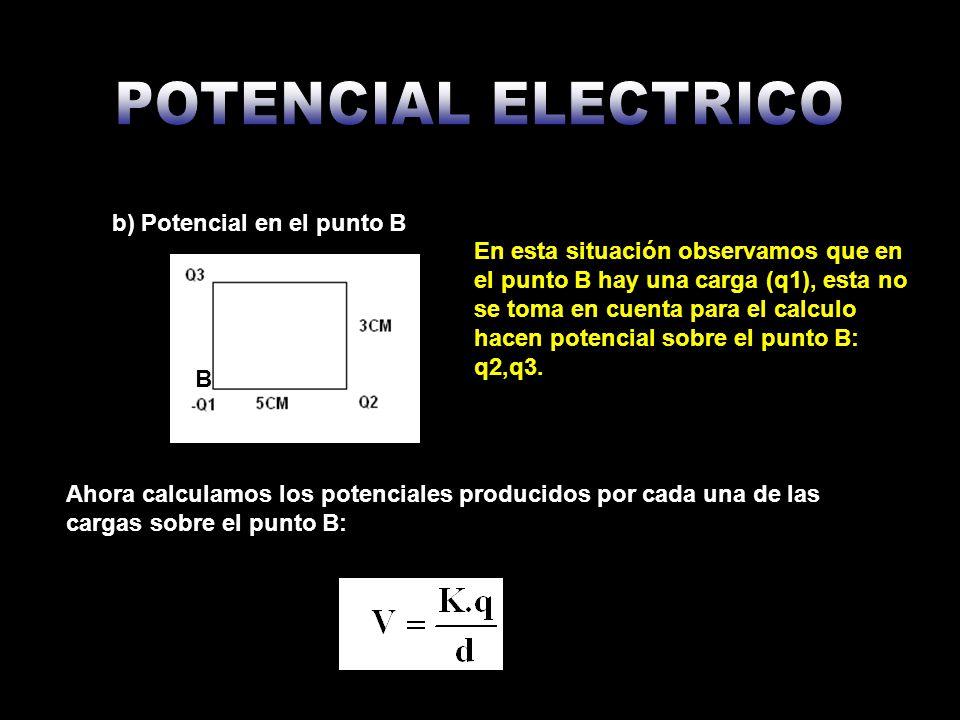 Ahora calculamos el potencial sobre el punto B, tomando en cuenta que cargas negativas producen potencial negativo y cargas positivas producen potencial positivo: VB= V2+V3