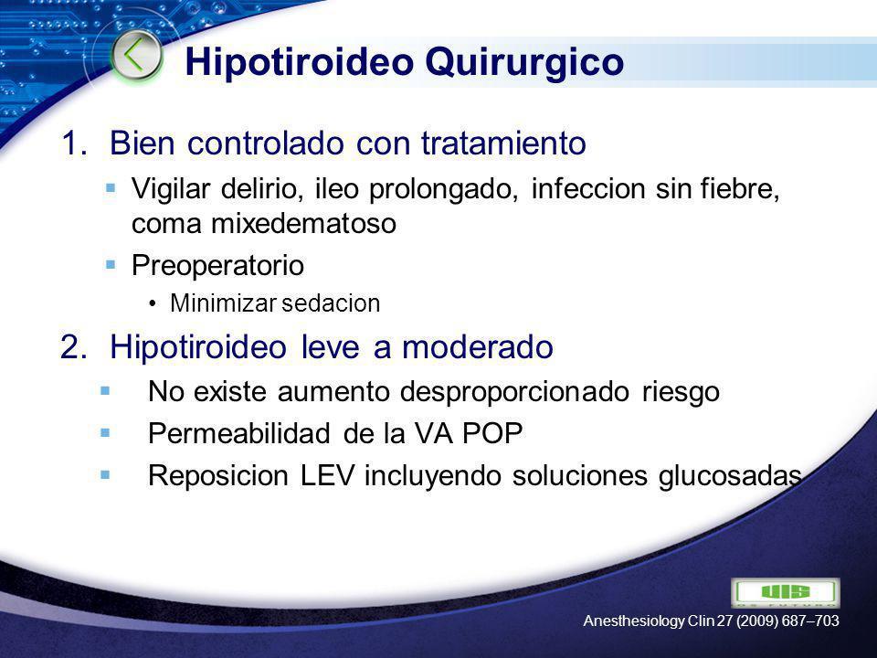 LOGO Hipotiroideo Quirurgico 3.Hipotiroideo severo Disminucion de status mental, efusion pericardica y falla cardiaca Levotiroxina Intravenosa (200–500mg en 30 minutos) y continuar 50 a 100 mg IV diaria Suele cursar con insuficiencia adrenal Anesthesiology Clin 27 (2009) 687–703