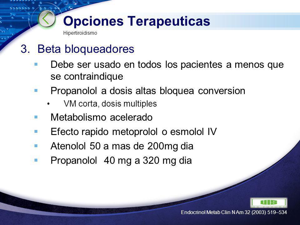 LOGO Opciones Terapeuticas 4.Medios de contraste oral Acido Iopanoico Impacta produccion y reduce conversion periferica de T4 a T3 Control rapido Iopadate 3gr reduce 50% en 24h.