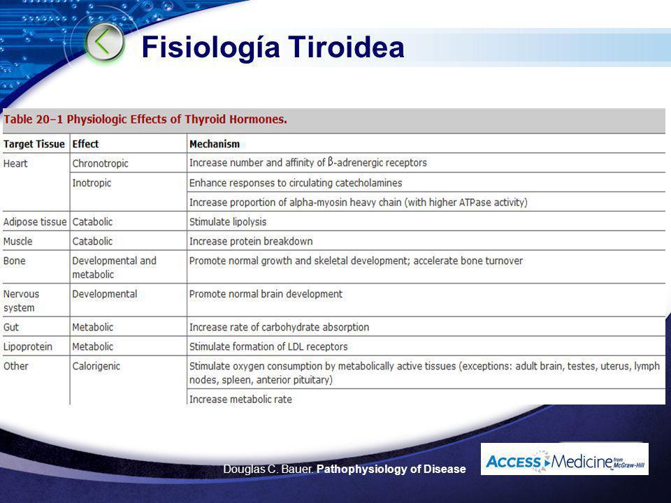 LOGO Disfunción Tiroidea La Hormona tiroidea estimula todos los procesos metabólicos Sintéticos Catabólicos Síndromes clínicos Hipo metabolismo Híper metabolismo Current Opinion in Anaesthesiology 1997,10:244-247