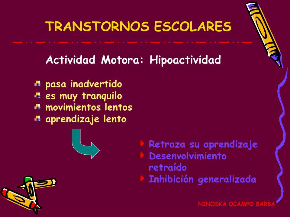 TRANSTORNOS ESCOLARES NINOSKA OCAMPO BARBA Actividad Motora: Hipoactividad Retraza su aprendizaje Desenvolvimiento retraído Inhibición generalizada pasa inadvertido es muy tranquilo movimientos lentos aprendizaje lento