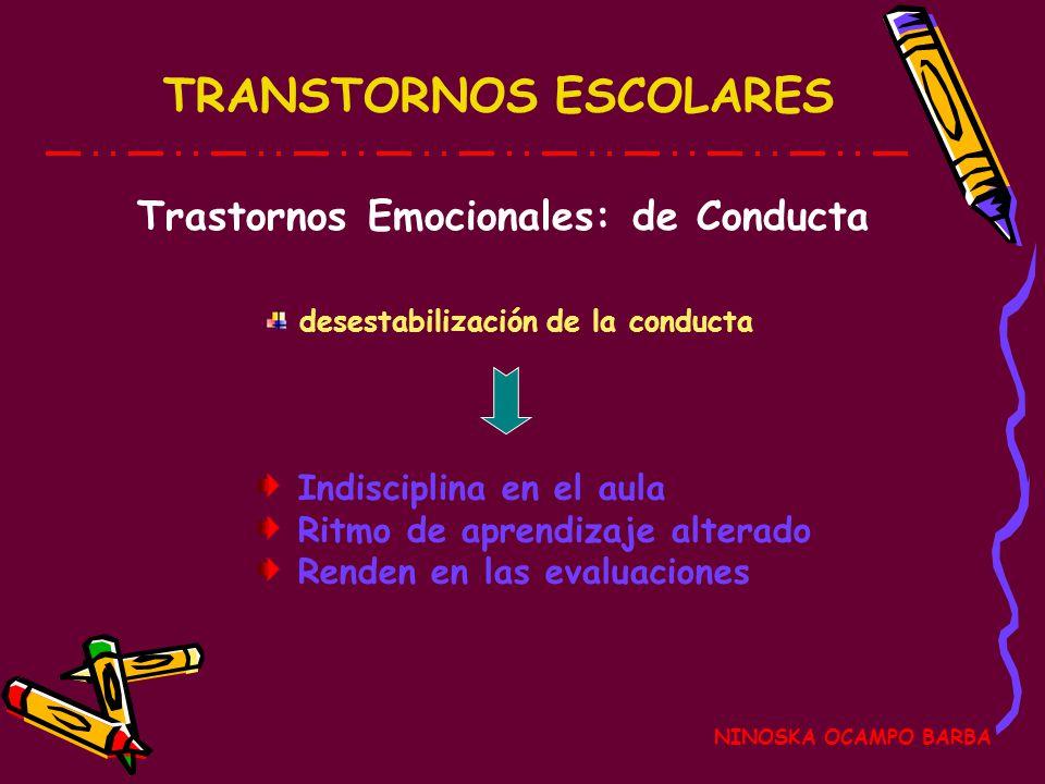 TRANSTORNOS ESCOLARES NINOSKA OCAMPO BARBA Trastornos Emocionales: de Conducta Indisciplina en el aula Ritmo de aprendizaje alterado Renden en las evaluaciones desestabilización de la conducta