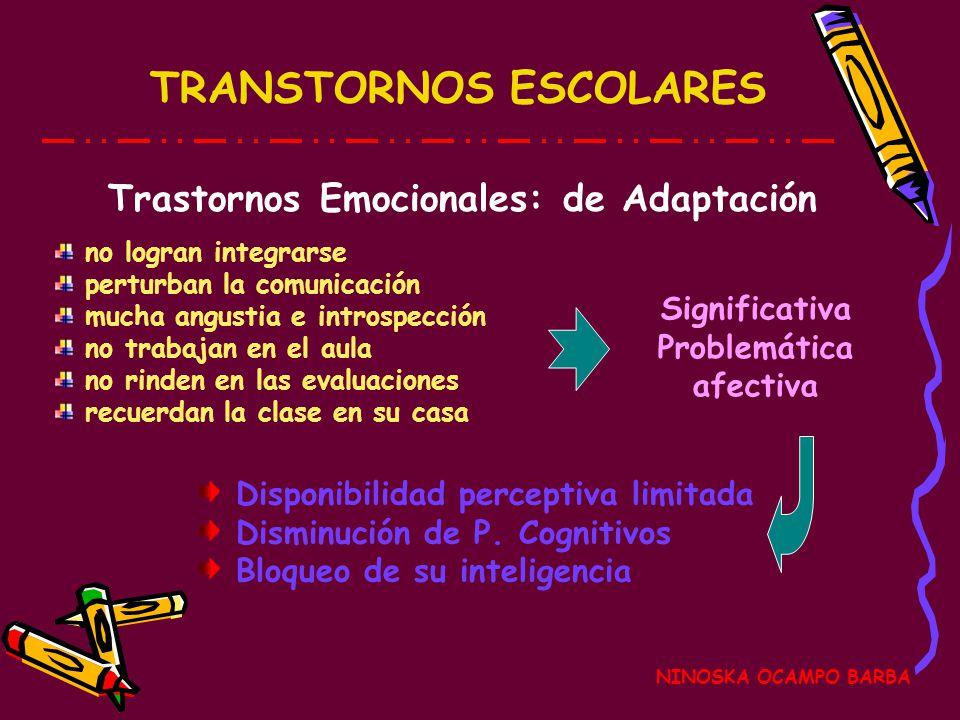 TRANSTORNOS ESCOLARES NINOSKA OCAMPO BARBA Trastornos Emocionales: de Adaptación Disponibilidad perceptiva limitada Disminución de P.