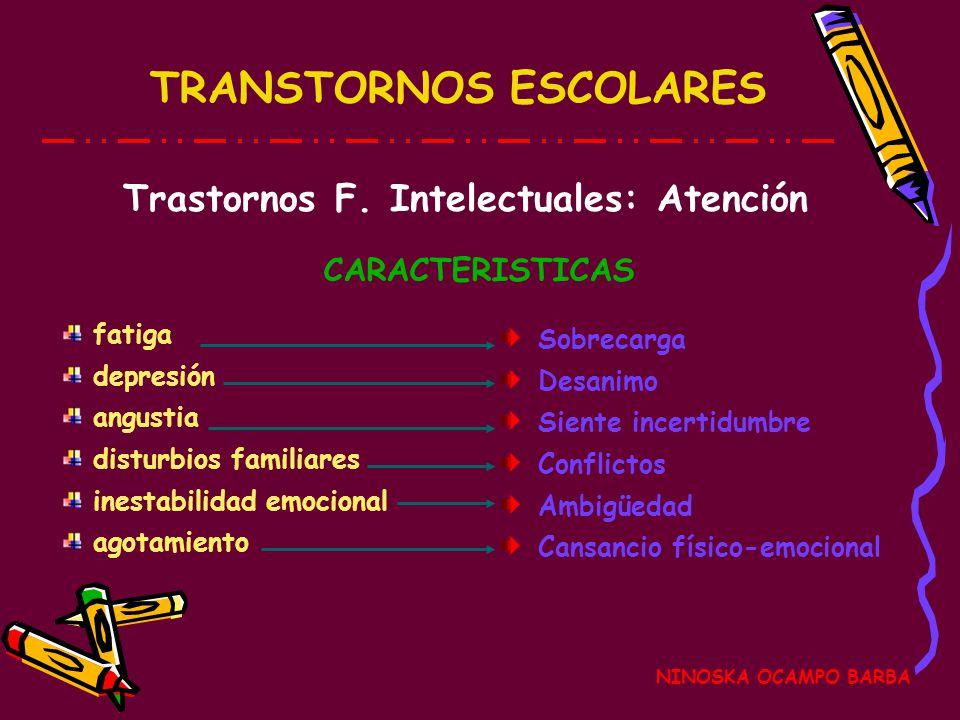 TRANSTORNOS ESCOLARES NINOSKA OCAMPO BARBA Trastornos F.