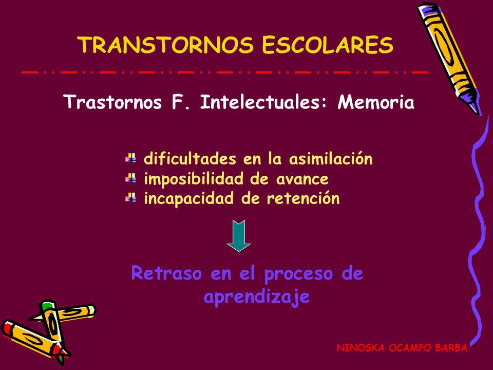 TRANSTORNOS ESCOLARES NINOSKA OCAMPO BARBA Retraso en el proceso de aprendizaje dificultades en la asimilación imposibilidad de avance incapacidad de retención Trastornos F.