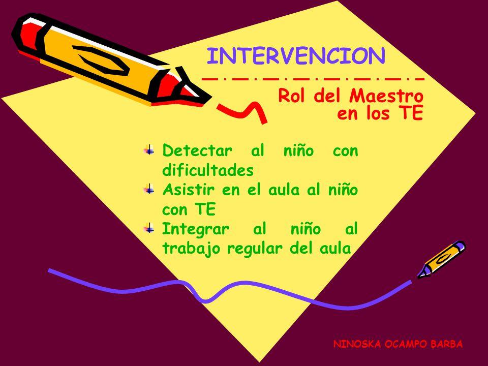 NINOSKA OCAMPO BARBA INTERVENCION Rol del Maestro en los TE Detectar al niño con dificultades Asistir en el aula al niño con TE Integrar al niño al trabajo regular del aula