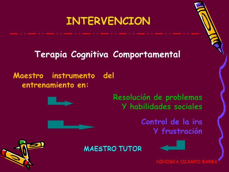 INTERVENCION NINOSKA OCAMPO BARBA Terapia Cognitiva Comportamental Maestro instrumento del entrenamiento en: Resolución de problemas Y habilidades sociales Control de la ira Y frustración MAESTRO TUTOR