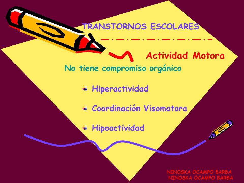 NINOSKA OCAMPO BARBA TRANSTORNOS ESCOLARES NINOSKA OCAMPO BARBA Actividad Motora Hiperactividad Coordinación Visomotora Hipoactividad No tiene compromiso orgánico