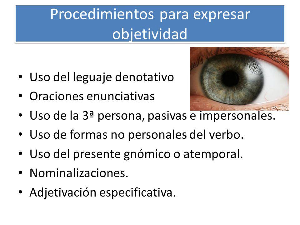 Procedimientos para expresar subjetividad Personalización del discurso Apelación al receptor con vocativos y uso de la 2ª persona.
