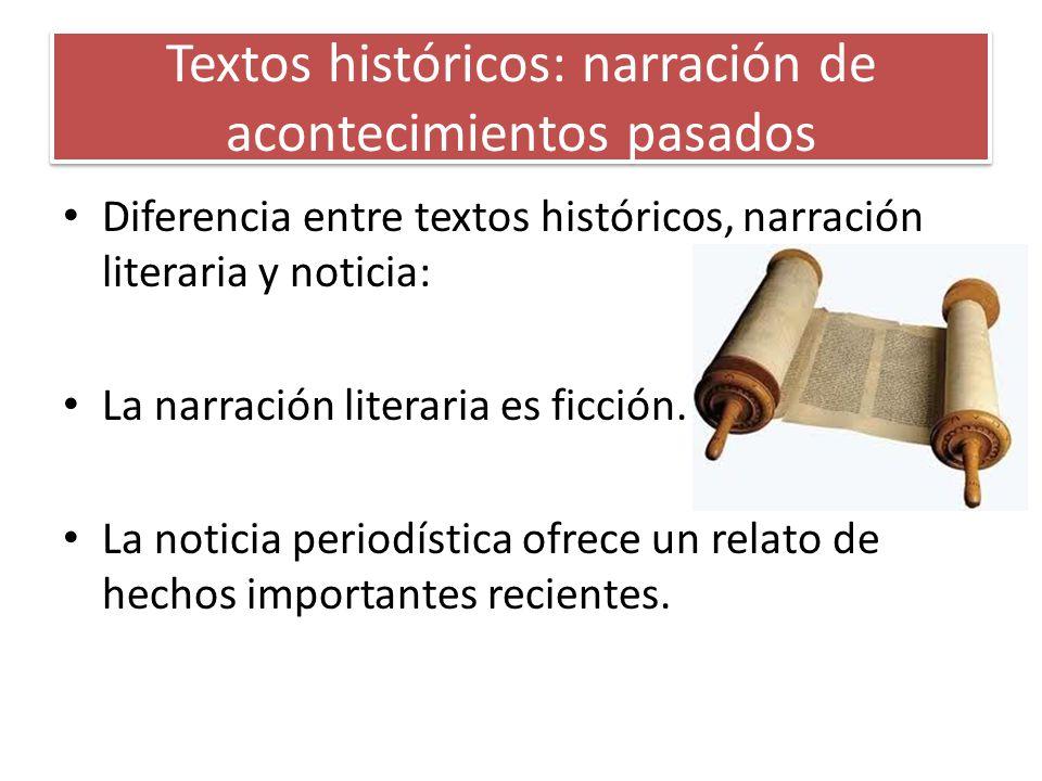 Características de los textos históricos -Uso de la 3ª persona -Uso del pretérito perfecto simple, pretérito pluscuamperfecto, pretérito imperfecto y presente histórico.