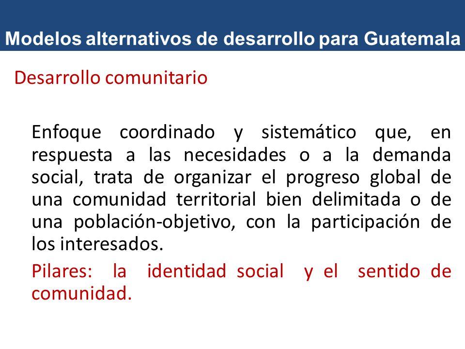 Modelos alternativos de desarrollo para Guatemala Desarrollo sostenible Modelo que se orienta a solucionar las necesidades del presente sin comprometer la capacidad de las generaciones futuras para solucionar sus propias necesidades.