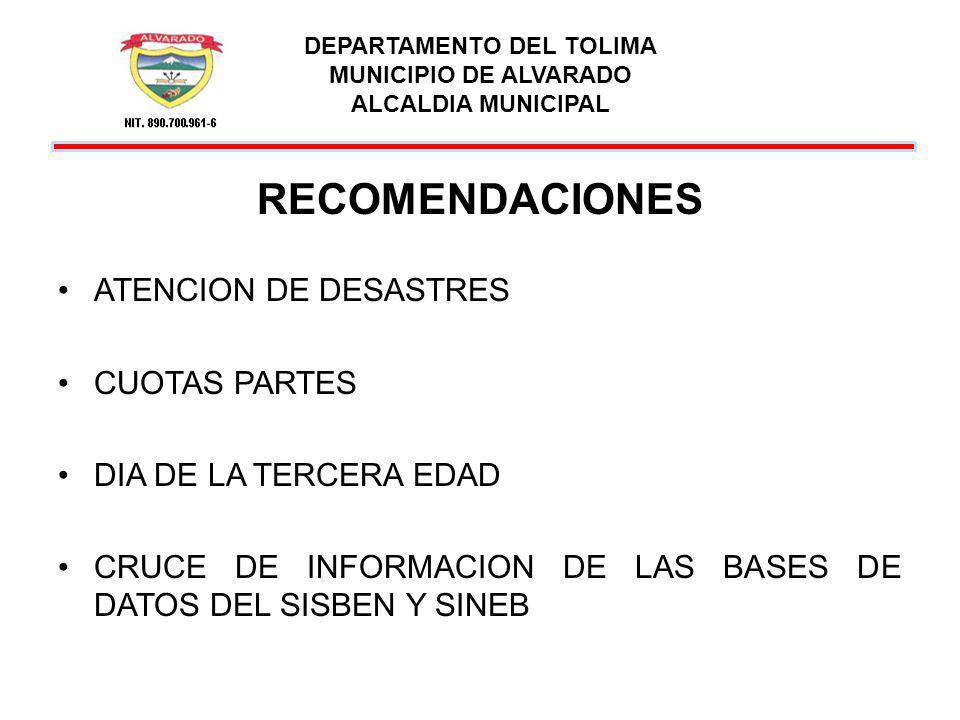 DEPARTAMENTO DEL TOLIMA MUNICIPIO DE ALVARADO ALCALDIA MUNICIPAL RECOMENDACIONES PERSONAL FOTOCOPIAS CONTRATACION ALUMBRADO PUBLICO