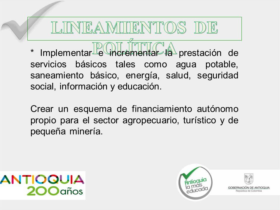 * Implementación de distritos agrarios municipales y supramunicipal su respectiva asignación de recursos.