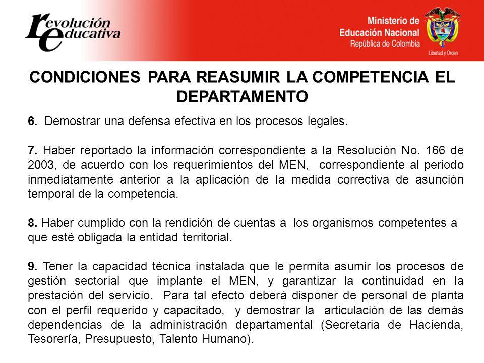 CONDICIONES PARA REASUMIR LA COMPETENCIA EL DEPARTAMENTO 6.