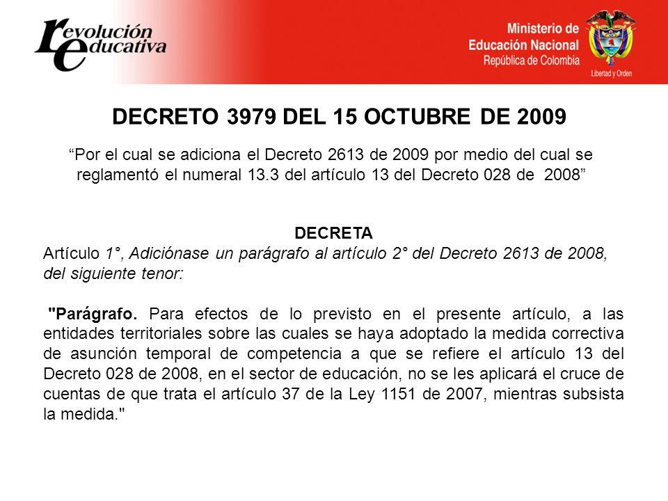 DECRETO 3979 DEL 15 OCTUBRE DE 2009 DECRETA Artículo 1°, Adiciónase un parágrafo al artículo 2° del Decreto 2613 de 2008, del siguiente tenor: Parágrafo.