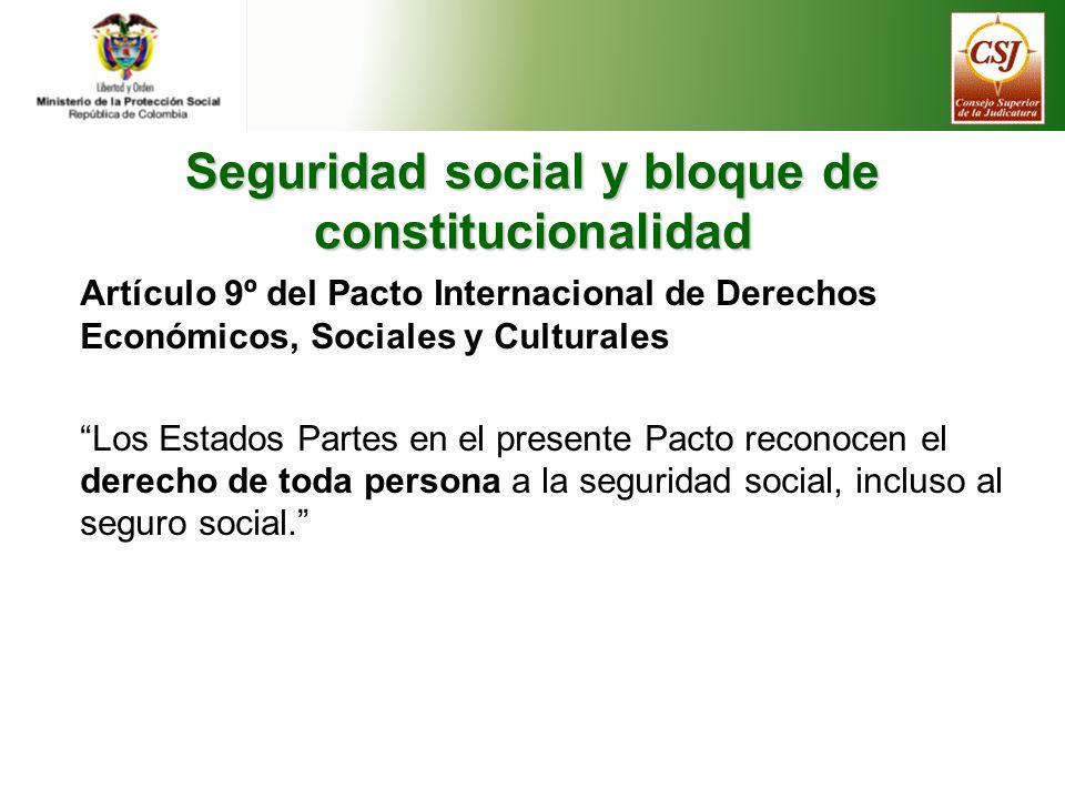 Seguridad social y bloque de constitucionalidad Artículo 9º del Protocolo adicional a la Convención americana sobre Derechos Humanos en materia de derechos económicos, sociales y culturales 1.