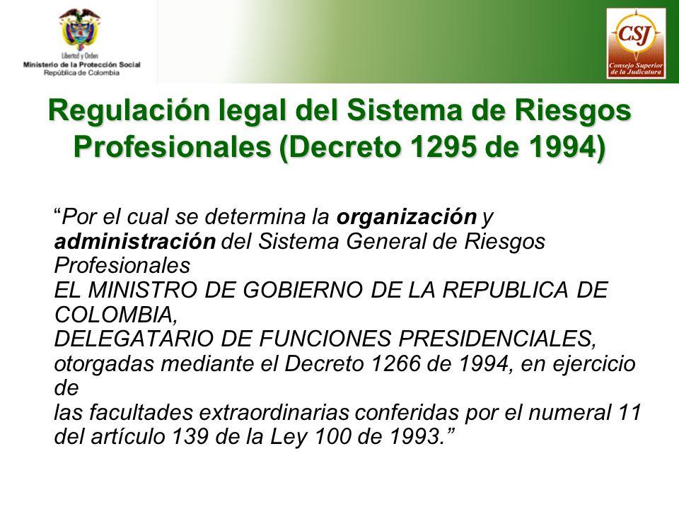 Objetivos del Sistema de Riesgos Profesionales según el Decreto 1295 de 1994 Promoción, prevención y protección frente a riesgos relacionados con el trabajo Fijación de prestaciones económicas y de salud Reconocimiento y pago de las prestaciones económicas Fortalecimiento de investigación y control de riesgos