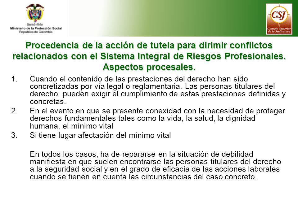 Procedencia de la acción de tutela para dirimir conflictos relacionados con el Sistema Integral de Riesgos Profesionales.