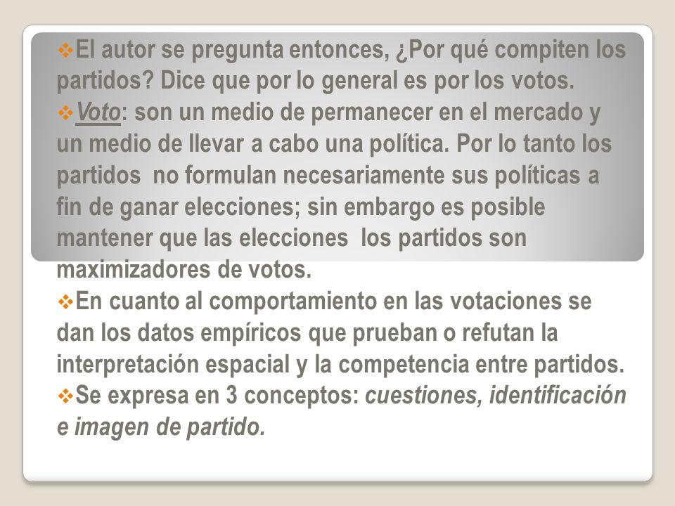 Cuestiones: se comparan a los votantes a partir de sus percepciones de las cuestiones y sus preferencias en torno a los votantes identificados; es decir, los que se identifican con un candidato o símbolo de partido.