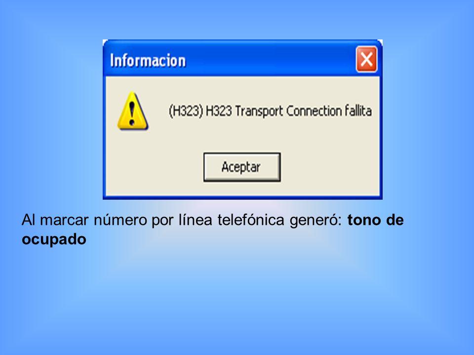 Al marcar ambos número por línea telefónica generó mensaje: El número que usted a marcado no a sido asignado al público