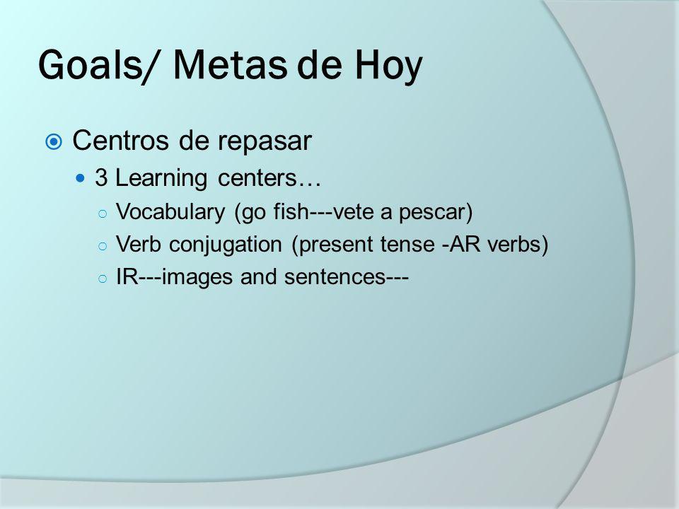 Centros de Repasar 4 review centers 5 minutes each Teams of 4; fill out sheet as you go!
