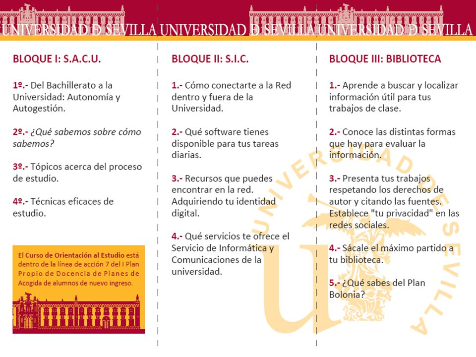 Estudios de Grado Estudios de Postgrado Doctorado Estudios de Postgrado Máster Curso introductorio BUS-SACU-TIC (COE) Nivel 1 - Básico Horas de formación: 10 (BIB 345h) Formación en Competencias Informacionales Nivel 2 - Medio Horas de formación: 4/10 (mínimo) Formación en Competencias Informacionales Nivel 3 – Avanzado I, orientado al Trabajo Final Grado Horas de formación: 4/10 (mínimo) Formación en Competencias Informacionales Nivel 4 – Avanzado II Orientado a trabajos de Máster y tesis Horas de formación: 4/10 (mínimo) 1º 2º 3º 4º 1ª fase 2ª fase 1ª-2º fase 3ª fase Competencias 1.Habilidades informáticas 2.Competencias informacionales 1.Qué información estoy buscando 2.Donde puedo encontrarla 3.Cómo la obtengo 4.Cómo la evalúo 5.Cómo la uso de forma ética y legal Niveles 1.Básico (introductorio) 2.Medio (según las áreas de conocimiento) 3.Avanzado I (Trabajo de investigación) 4.Avanzado II (Máster y tesis) Nuestro Plan ALFIN