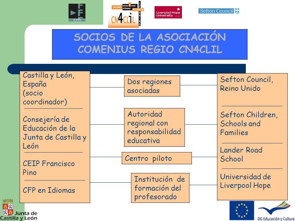 OBJETIVO PRINCIPAL Acuerdo Marco de Colaboración Establecer un Acuerdo Marco de Colaboración que permita la creación de una estructura de cooperación permanente entre las regiones participantes para apoyar el aprendizaje de las lenguas extranjeras a través de la integración de lengua y contenido (CLIL) en los centros de primaria de Castilla y León y de Sefton (Reino Unido).