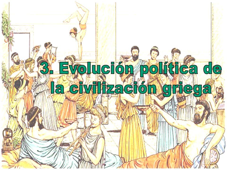 a) Aristocracia (aristoi, los mejores) - El poder estaba en manos de los nobles, quienes accedían a las magistraturas y al Consejo b) Plutocracia - El poder estaba en manos de los que tenían el poder económico Época Arcaica (800 a.