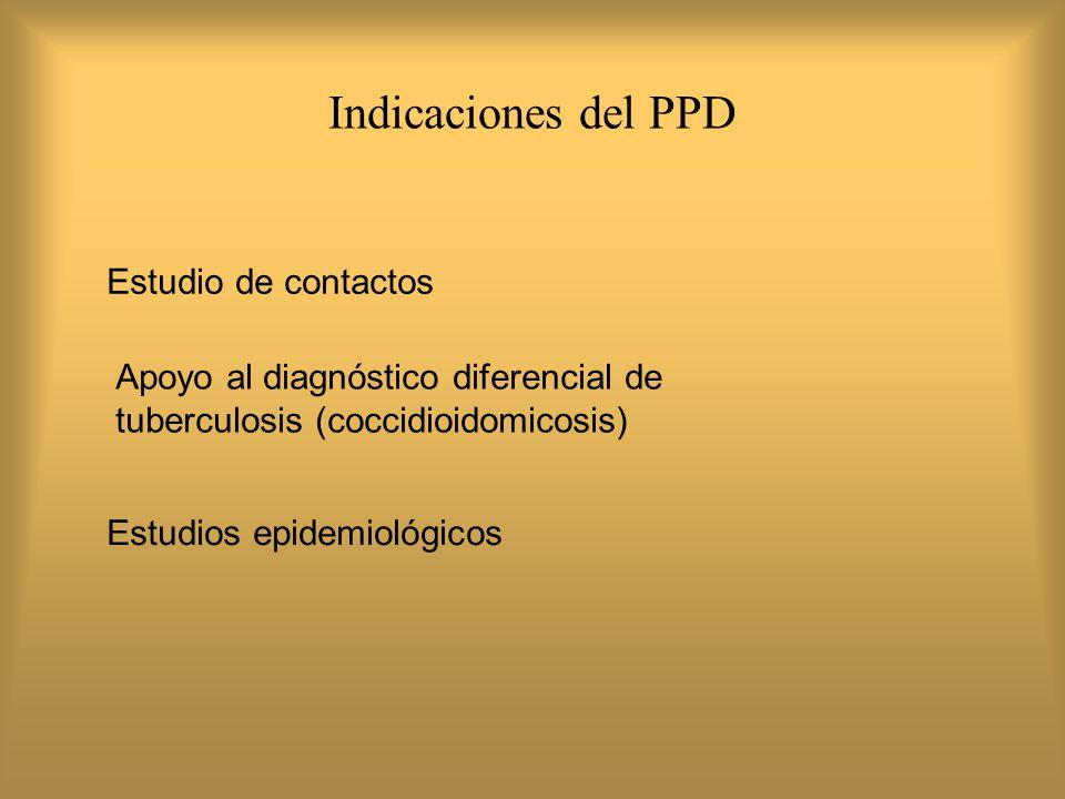 Se deben aplicar 2 UT de PPD RT- 23 o 5 UT de PPD-S Se debe realizar la lectura de la induración a las 72 horas, expresada siempre en milímetros del diámetro mas amplio RESPECTO AL PPD
