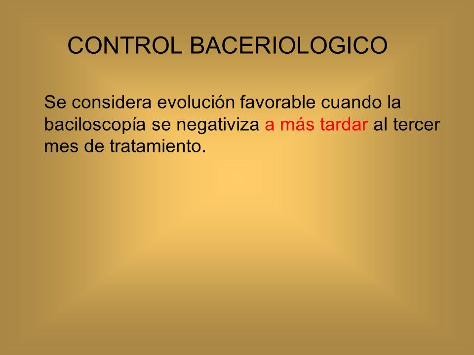 Control clínico El paciente enfermo de tuberculosis en tratamiento debe ser evaluado clínicamente al menos una vez al mes Incluye: revisión del estado general del enfermo, evolución de los síntomas, verificación de ingesta y deglución del fármaco, PFH.