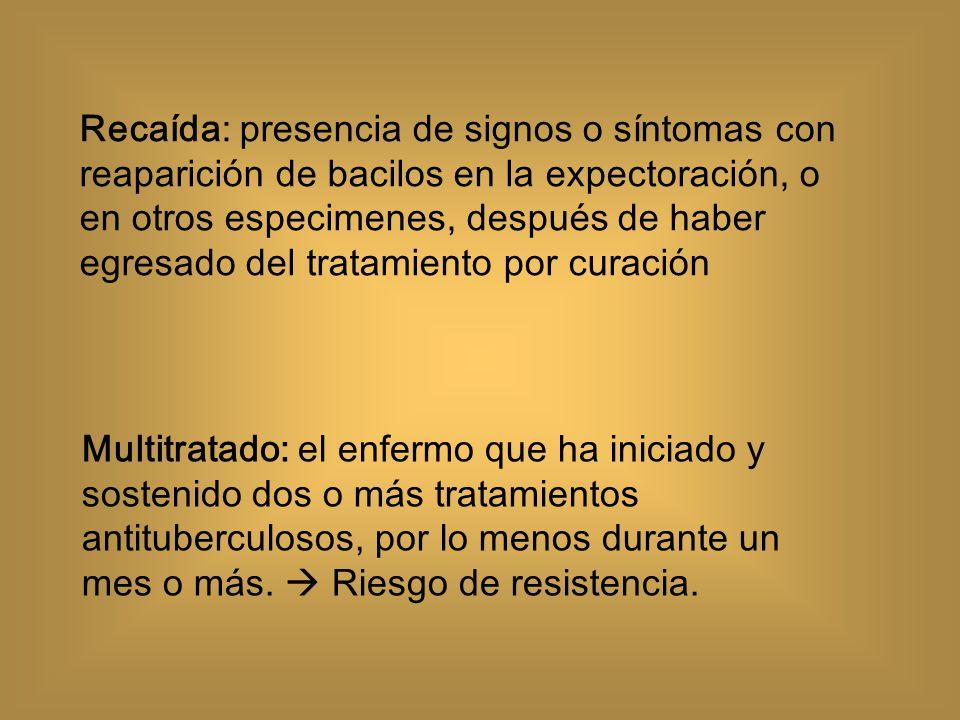 Los casos de tuberculosis con sospecha de farmacorresistencia deben ser evaluados por el Comité Estatal correspondiente A todos los casos con sospecha de fármaco resistencia se les debe realizar cultivo y prueba de susceptibilidad antimicrobiana