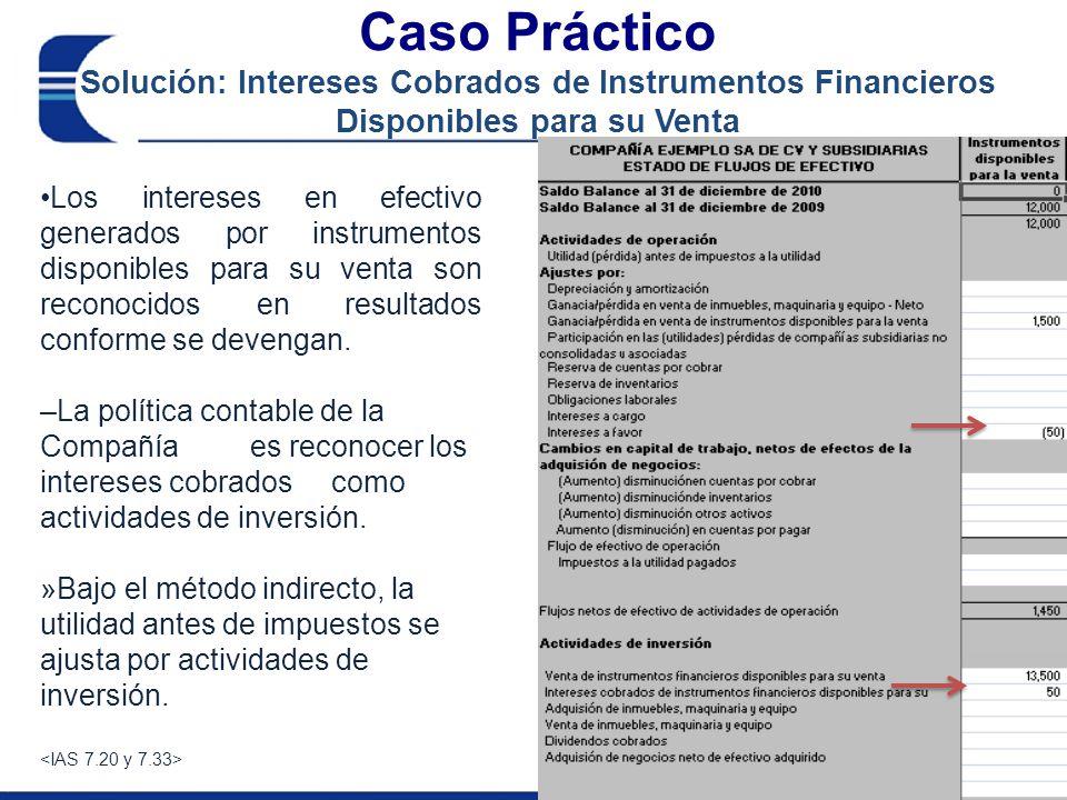 Caso Práctico Solución: Arrendamiento Financiero Sección en el flujoCelda de referencia Saldo al 31 de diciembre 2009 2,700 Adquisición de activo fijo 500No FlujoO57 Pago de rentas(1200)FinanO44 Saldo al 31 de diciembre de 20102,000